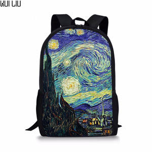 Girls Backpacks Schoolbags Van Gogh Customized Starry Primary-School-Students Casual