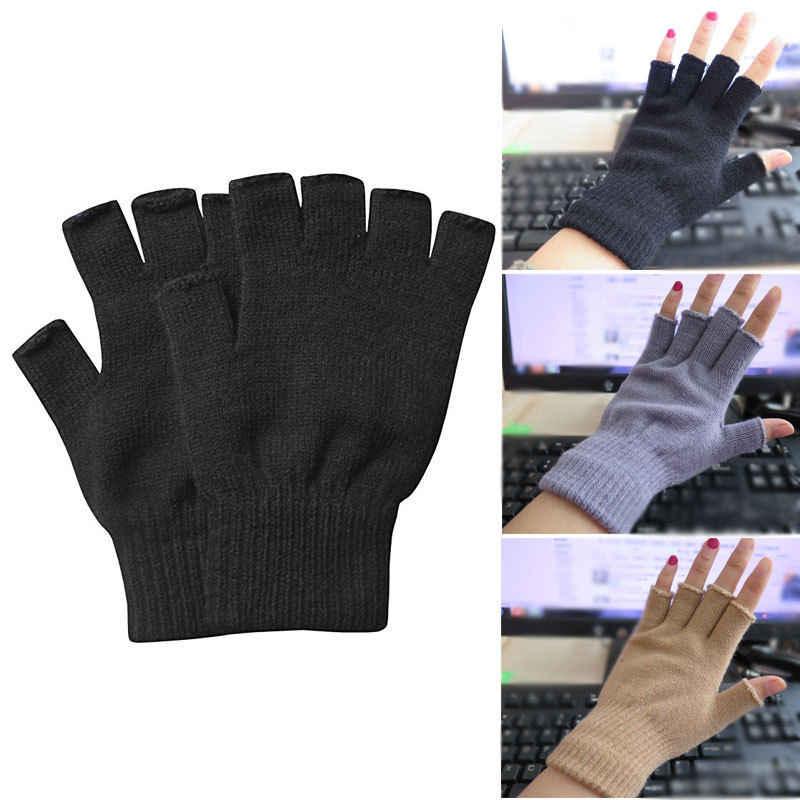 06a655233 Autumn Winter Women Men Soft Half Finger Gloves Warmer Knitted Mittens  Fingerless Solid Casual Gloves 3