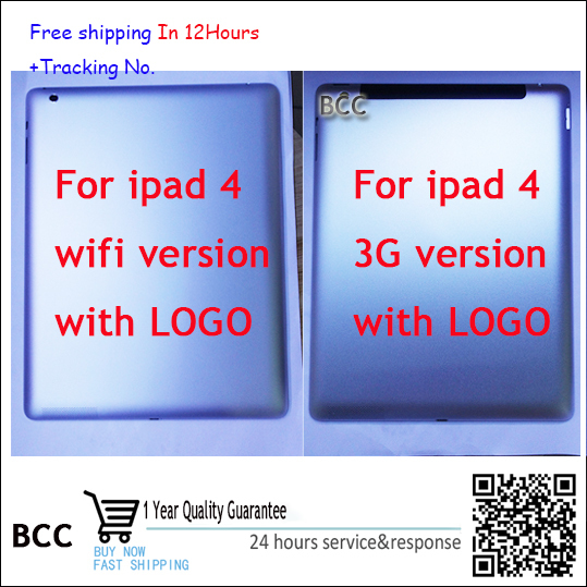 Original For ipad 4 3G version WIFI version Battery Door Back Rear Housing Cover Case  Replacement Parts Test ok,+tracking