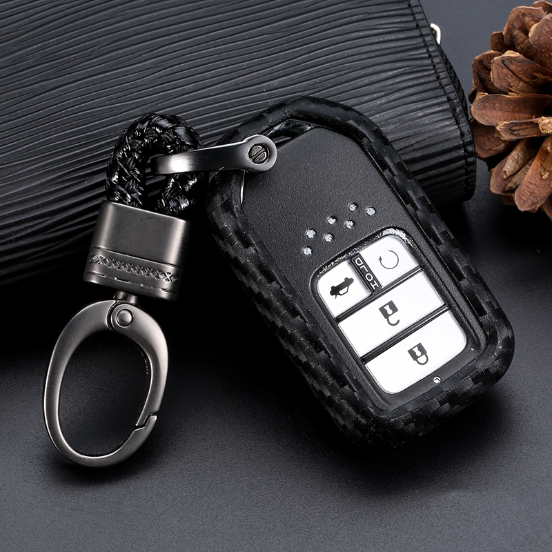 Carbon fiber silicone rubber car <font><b>remote</b></font> key fob cover case for <font><b>Honda</b></font> 2016 2017 CRV Pilot Accord Civic Fit Freed <font><b>keyless</b></font> image