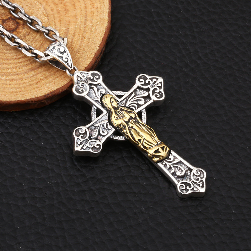 MetJakt Cross Pendant with Ruby & Virgin Mary Pendant Solid 925 Sterling Silver Necklace for Unisex Vintage Jewelry