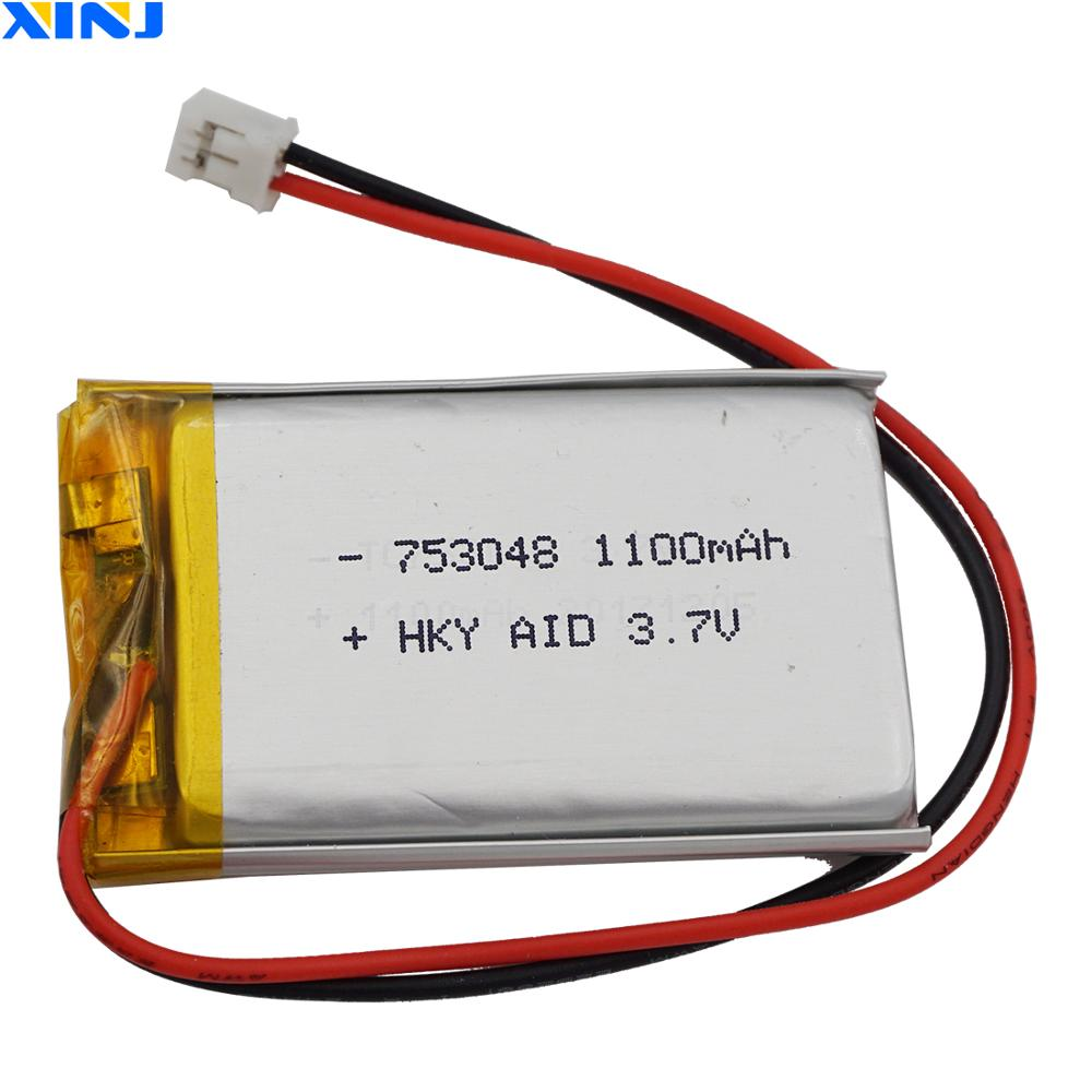 XINJ 3.7V 1100mAh Lithium Polymer Rechargeable Li-Po Battery 753048 2pin JST 2.0mm For GPS Game E-book PDA car Camera Tablet PC image