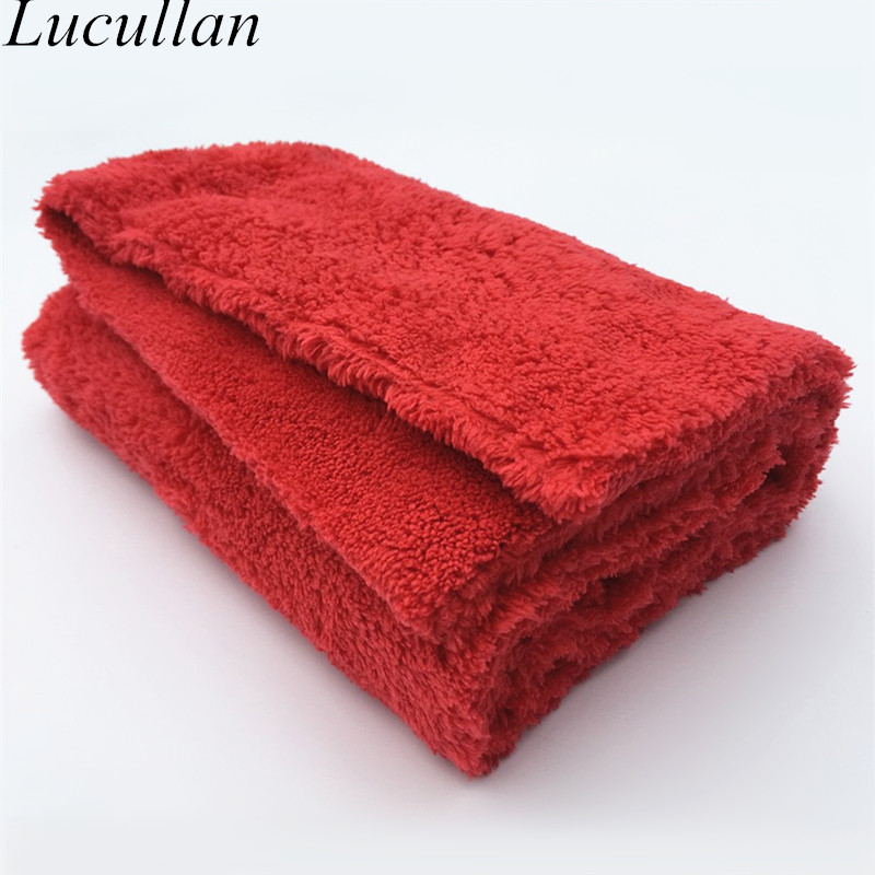 Lucullan Brand Super Glory Edgeless Plush Microfiber Towel 40x40cm 500GSM Cloths For Polishing Buffing Finishes Car Wash