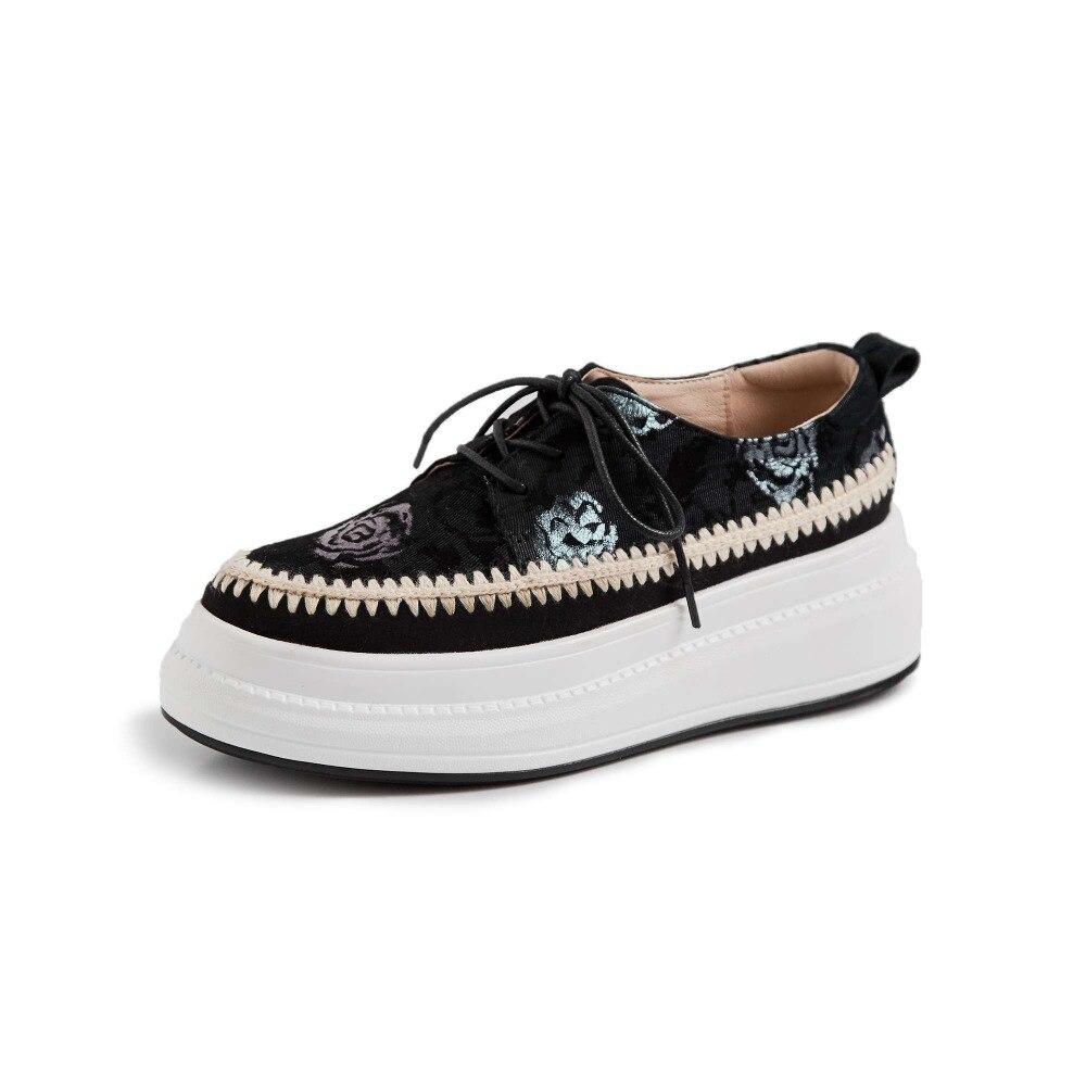 Oveja oro Encaje lavanda Cielo Impermeable Punta Zapatos Vulcanizados 2019 Conciso Fondo Diseño Cuero Azul Ocio De Estilo Nuevo Grueso Redonda L22 Flores WnWzfRqA