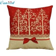 Ouneed feliz 2016 árboles de belleza de alta calidad Vintage Navidad cama hogar funda de almohada