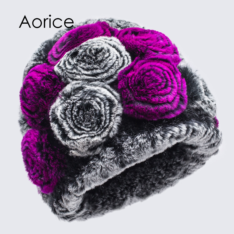 Aorice Knitted Mink Hat For Women Autumn Winter Hand-Woven Vertical Ladies Fashion Rabbit Fur Four Colors Can Be Selected HF7040 import mink hand knitted pineapple mink hat fur hat thermal millinery rabbit hair hat