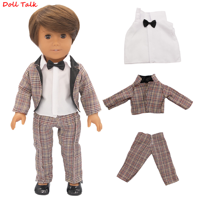 3pcs/set Suit Doll Outfit For 43cm Baby Tuxedo Coat+T-shirt+Trousers Set For 18Inch Amerian Zapf Doll Clothes Child's Gift Shoes