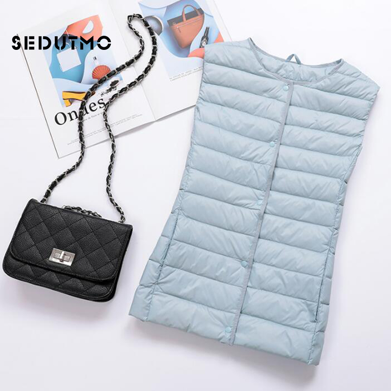 SEDUTMO Winter Plus Size 3XL Womens   Down   Jackets Short Ultra Light Vest Duck   Down     Coat   Puffer Jacket Slim Waistcoat ED503