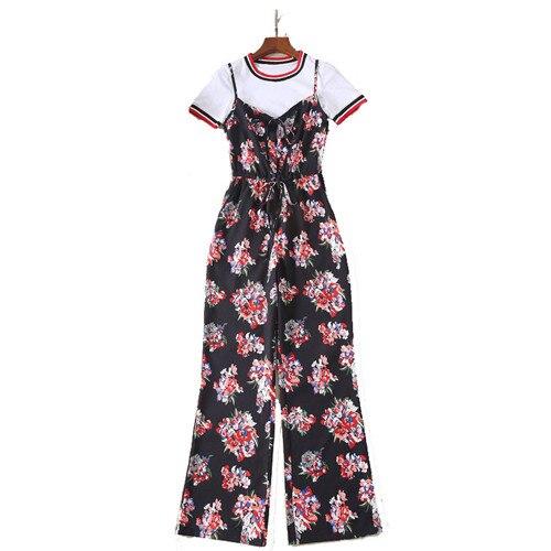 Noir Et Blanc Longue Imprimé Floral Ensembles De Combinaisons shirt Plus T Courtes À Piste Multi Style Salopette Manches Designer 2018 Populaire Mode H6OSZ6