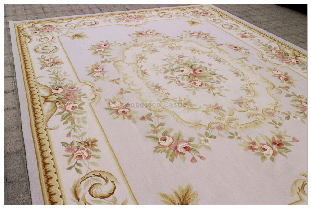 Subtle Gray Blue 9x12 Aubusson Area Rug W Pink Roses Wool