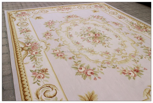 Subtle Gray Blue 9x12 Aubusson Area Rug W Pink Roses Wool French Pastel 3000 Hone