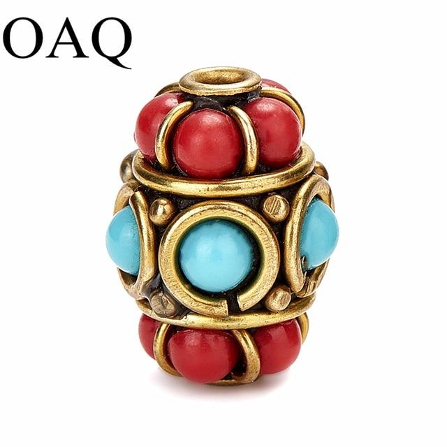 Retro Nepal Metal Beads Tibetan Type Clay Beads For Jewelry Making 16mm*12mm 5pcs Pure Copper Handmade Craft Making