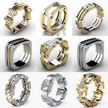 Hip Hop Bling Round Shape Cool Street Men Iced Out CZ Ring Mens Finger Signet Golden Engagement Rings Bague