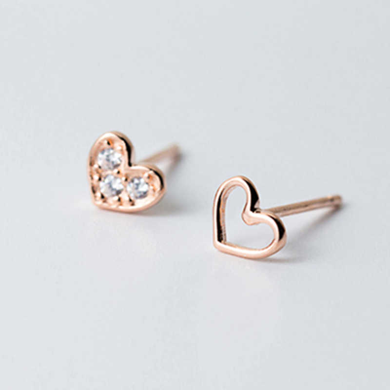 100% 925 Sterling Silver Earrings Jewelry Fashion Tiny CZ Pave Crystal Heart Stud Earrings Gift For Women Girls Kids Lady