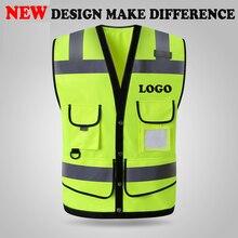 SPARDWEAR высокая видимость светоотражающий жилет безопасности жилет мужской с MULTI-POCKETS шелкография логотип печать