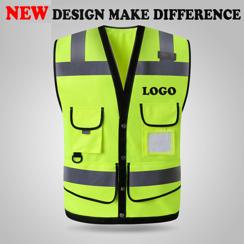 SPARDWEAR HIGH VISIBILITY REFLECTIVE SAFETY VEST WAISTCOAT MENS WITH MULTI POCKETS SILK SCREEN LOGO PRINTING FREE SHIPPING