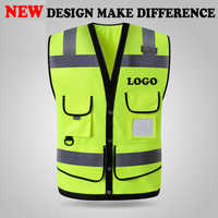 SPARDWEAR HIGH VISIBILITY REFLECTIVE SAFETY VEST WAISTCOAT MENS WITH MULTI-POCKETS SILK SCREEN LOGO PRINTING FREE SHIPPING