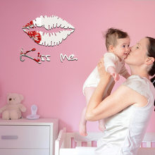 KISS ME Acrylic Mirror Children's Wall Sticker Home Living Room Bedroom Wall Environmentally Friendly Sticker(China)