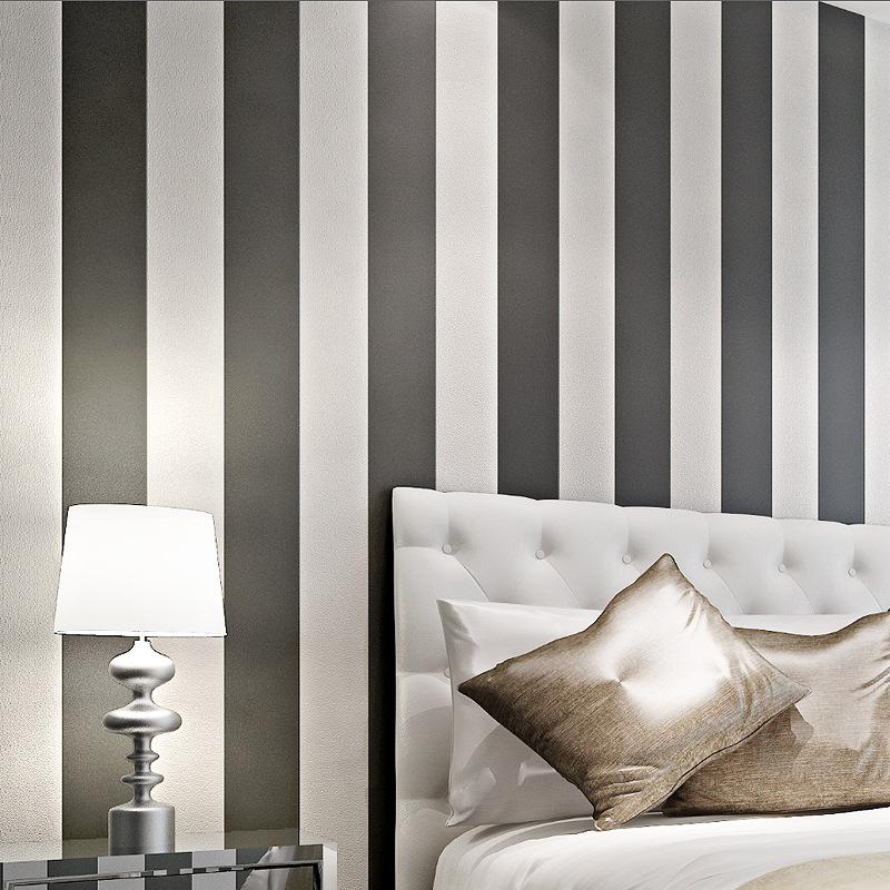 non waven black and white dark blue wide striped wallpaper living room TV background wall sofa bedroom striped wallpaper striped wide leg shorts