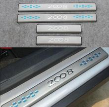 цена на Auto Door sill plate scuff plate threshold for peugeot 2008 2014 2017 ,stainless steel,4pc/lot,free shipping