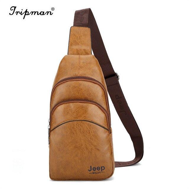 a9a44c93200d JEEP Buluo Sling Bag Men Leather Chest Bag Crossbody Shoulder Bag For Men  KSL552M