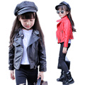 Girl Motorcycle Jackets 2017 New Autumn Girls PU Jacket Kids Turn Down Collar Leather Jackets Solid Children Jacket Winter 2-11T