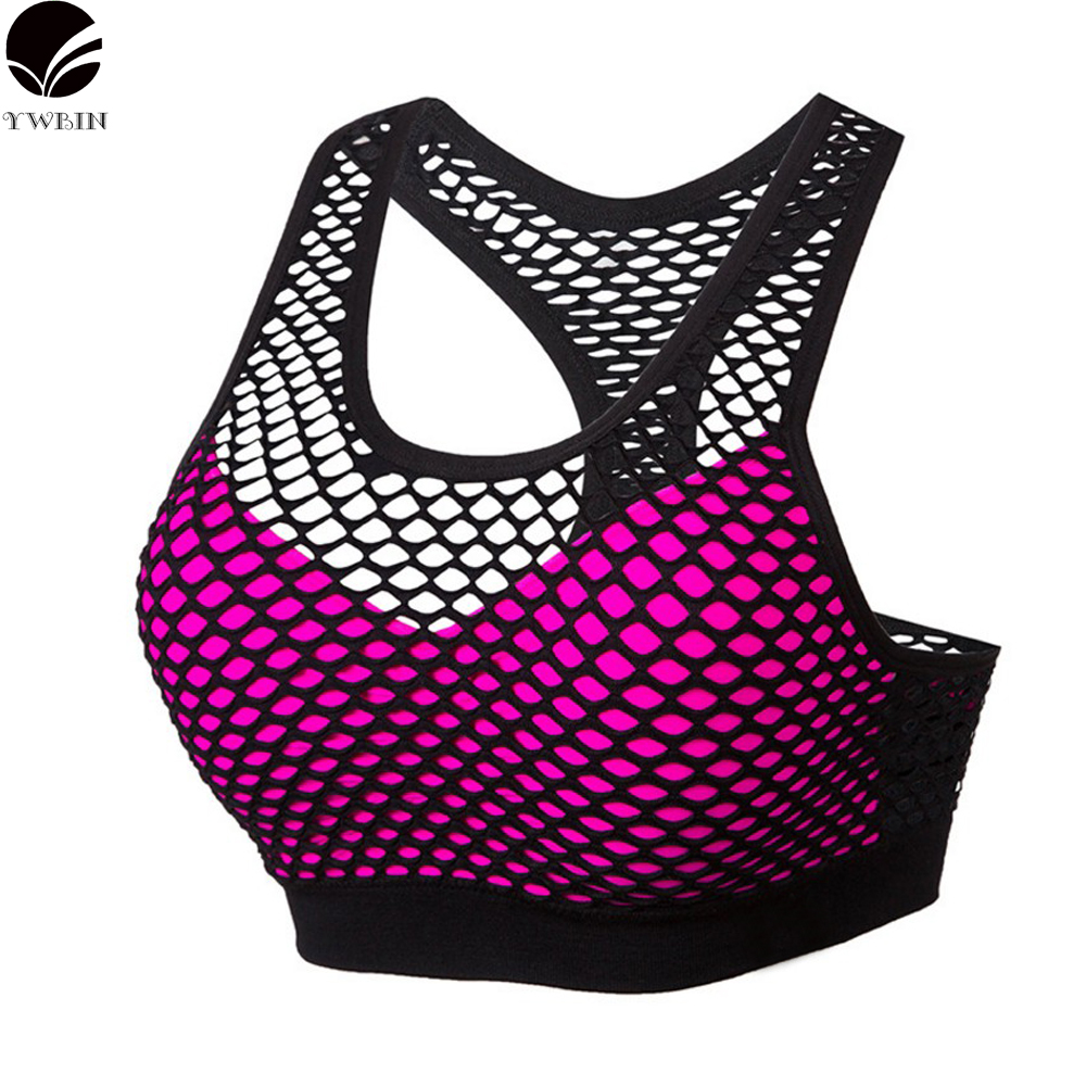 YWBIN brand Sports Bra Women Fitness Top Shake proof Padded Yoga Bra Workout Gym Bra Top Wire Free Push Up Running TOP Yoga
