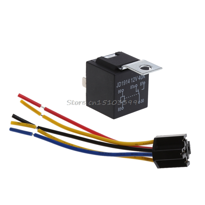 1 Piece Waterproof Automotive Relay 12v 5pin 40a Car Relay 12v 4pin With Black Red Copper Terminal Auto Relay With Relay Socket waterproof car relay 12v 40a 4 modified car with cable