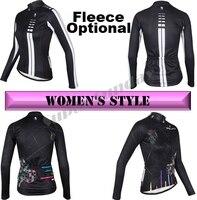 Women's Long Cycling Jerseys Bike Jersey Female Long Sleeve Sports Wear Fleece Optional Free Shipping