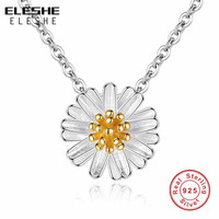 8e991943ac1 ELESHE 2019 Spring New Yellow Gold Daisy Flower 925 Sterling Silver  Necklaces Pendants For Women Fashion
