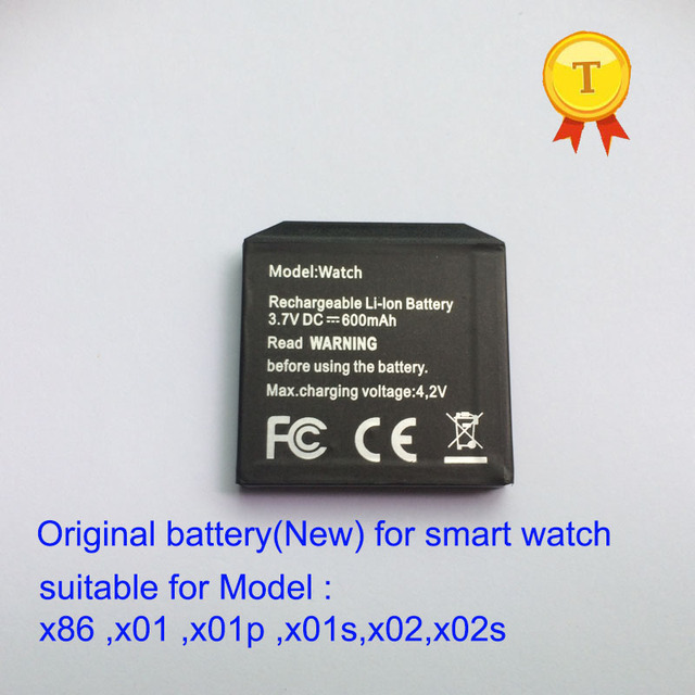 original rechargeable 600MAH Battery for X01 X01S X02 X02s x01plus X86 X89 Smart Watch Smartwatch hour Clock wristwatch battery