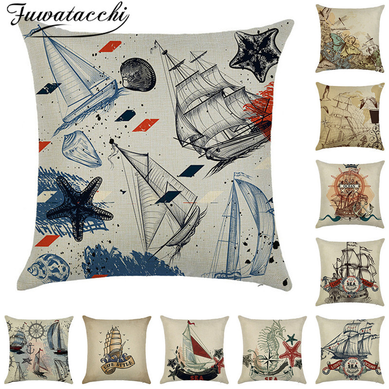 Fuwatacchi Linen Cushion Cover Ocean Sailboat Anchor Pillow Cover For Home Chair Sofa Decorative Pillows Sea Style Pillowcases