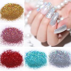 Image 3 - 10/5g Nail Glitter Powder  Laser Nail Art Shimmer Powder Purple Silver Shining Nail Powder Decoration