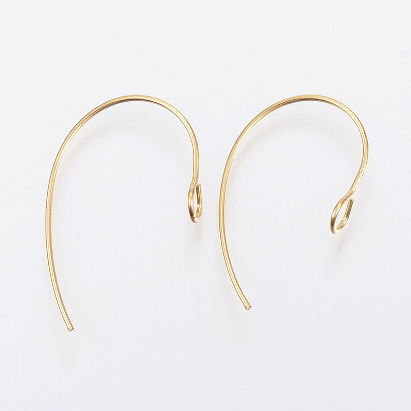 100pcs 304 Stainless Steel Earring Hooks Accessories For Jewelry DIY Making Earring 25x14x4mm, Hole: 3mm; Pin: 0.7mm F80