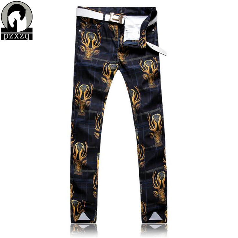 Europe New Men`s Deer head pattern printing Jeans Punk Style Gothic Painted Cotton Jeans For Young Men Popular jeans Plus size men s young men s jeans wholesale price