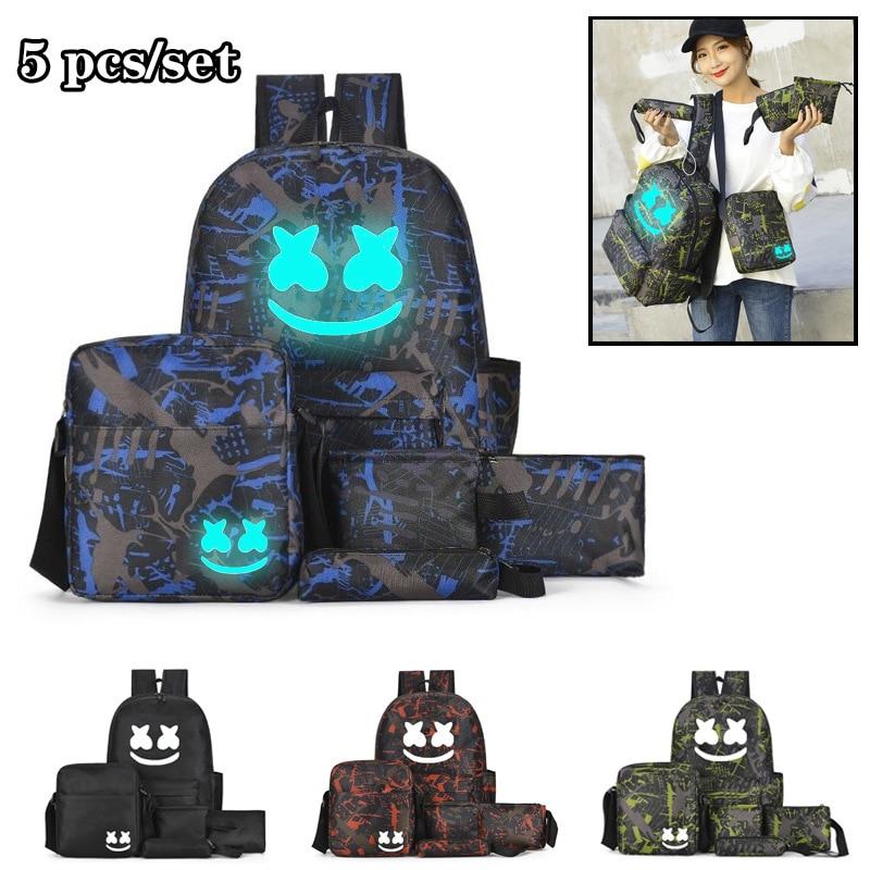 DJ Marshmallow Multifunction Backpack Set For Boys Teenagers Student School Bags Girls Luminous Backpack Travel Shoulder Bag