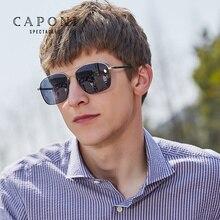 Caponi Alloy Square Photochromic Sunglasses Men Polarized Fashion Classic Brand Design Mens Accessories Sun Glasses BS8174
