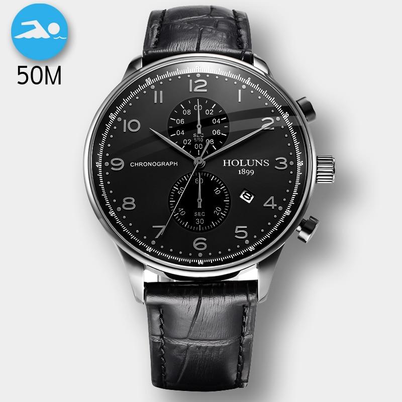 50 M étanche mode chronographe marque Quartz montre hommes militaire en acier inoxydable montres de sport homme horloge Relogio Masculino
