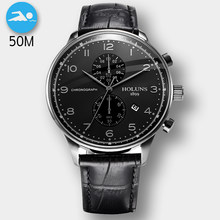 50M Waterproof Fashion Chronograph Brand Quartz Watch Men Military Stainless Steel Sports Watches Man Clock Relogio Masculino(China)