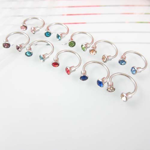 100pcs Mixed Color Gem Two  Barbell Nose Ring 316L Surgical Stainless Steel Body Piercing Jewelly Free Shipping