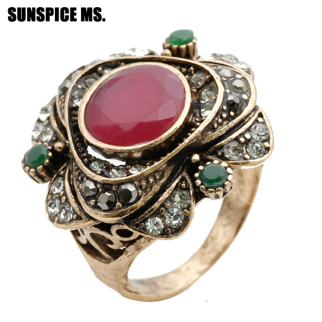 New Round Rose Flower Vintage Ring Turkish Women Antique Gold Color Ethnic Wedding