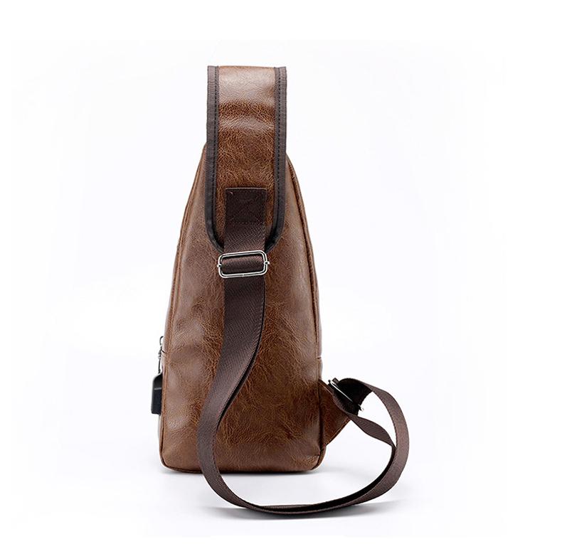 Men's Crossbody Bags Men's USB Chest Bag Designer Messenger bag Leather Shoulder Bags Diagonal Package 2019 new Back Pack Travel 6