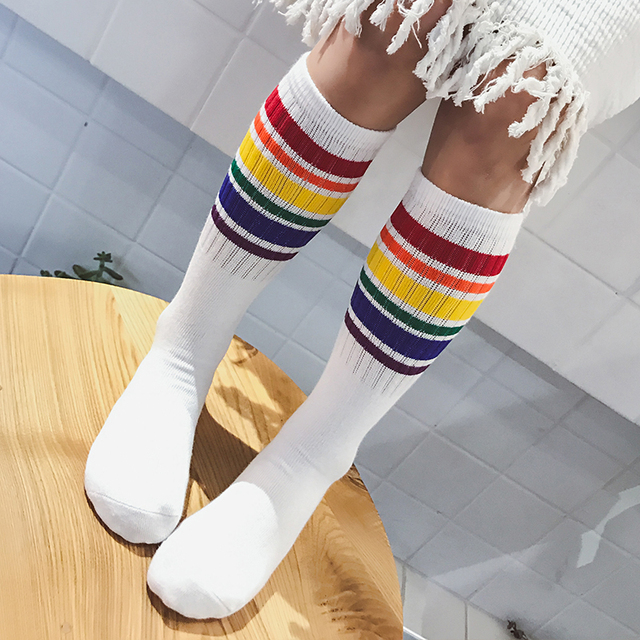 ed9ed8e05b8 fashion children s long sock striped rainbow knee high sock cotton white  black school socks for kids boys child girls 1-10T Fall