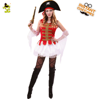 Woman Deluxe Pirate Costumes with Lace Hemlines Adult Glamourous Viking&Buccaneer Girls Cospaly for Masquerade Party Performance