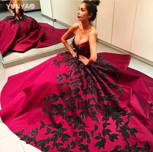 Luxury fashion black embroidery leaves with hand beading red evening dresses with open back party wear sexy shiny formal gowns
