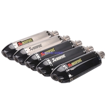 JOHOTAKI: Inlet 51mm Universal Akrapovic Motorcycle Exhaust Pipe Muffler Escape Dual Outlet Tips