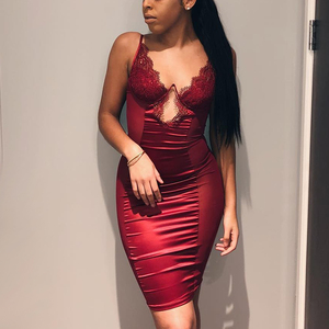 Image 3 - NewAsia Mesh Sexy Dress Women 2019 Summer Bodycon Dresses Bustier Satin Lace Side Sheer Cups Party Dress See Through