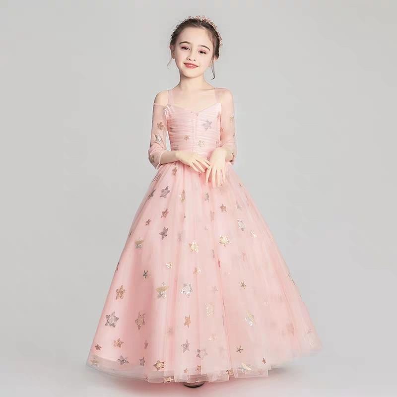 2019Spring Summer Elegant Pink Color Children Kids Sling Birthday Wedding Party Fluffy Long Dress Girls Evening Host Tutu Dress