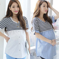 Hot sale Fashion Striped Cotton Nursing Top Blouses Shirts Breastfeeding Tops Blouse Shirt Maternity Clothing nursing clothing f