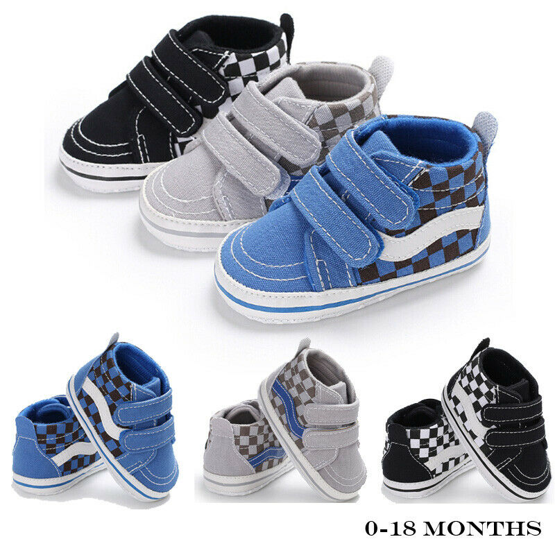 2019 Kids Baby Shoes Soft Sole Newborn Baby Boy Girl Pre-Walker Shoes Canvas Sneakers Checked Print First Walkers 0-18 Months